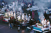 Food stalls in Jemaa El-Fna square, the liveliest place night and day in Marrakech. Morocco