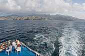 The passengers. Cruise on Aranui III, cargo and passenger vessel, delivering goods to Marquesas and Tuamotus islands from Tahiti and picking coprah, fruits and fishes on her way back. Marquesas archipelago. French Polynesia
