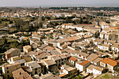 Aerial view, Aerial views, Ancient, Architecture, Carcassonne, Color, Colour, Daytime, Europe, Exterior, France, Historic, Historical, History, House, Houses, Housing, Medieval, Outdoor, Outdoors, Outside, Roof, Roofs, Rooftop, Rooftops, Town, Towns, Tra