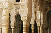 Detail of columns at the Courtyard of the Lions, Alhambra. Granada. Spain