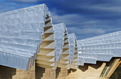 Detail of Ysios winery building design by Santiago Calatrava. Laguardia, Rioja alavesa. Euskadi, Spain