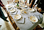 Adult, Adults, Aliment, Aliments, At home, Celebrate, Celebrating, Celebration, Celebrations, Chair, Chairs, Color, Colour, Contemporary, Dining room, Dining rooms, Dining-room, Dining-rooms, Dish, Dishes, Families, Family, Food, Home, Horizontal, Human,
