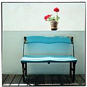 Blue bench.