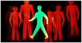 Brave, Color, Colour, Computer graphic, Computer graphics, Concept, Concepts, Determination, Entrepreneur, Entrepreneurs, Figure, Figures, Green, Idea, Ideas, Illustration, Illustrations, Individuality, Passer-by, Passers-by, Pedestrian, Pedestrians, Pos
