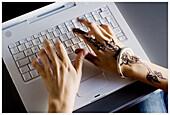 Ability, Adult, Adults, Bracelet, Bracelets, Business, Close up, Close-up, Closeup, Color, Colour, Complex, Complexity, Computer, Computers, Concept, Concepts, Contemporary, Daytime, Decorated, Decoration, Draw, Drawing, Female, Finger, Fingers, Folk, Fo