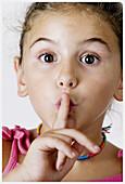 Gestures, Gesturing, Girl, Girls, Hand, Hands, Headshot, Headshots, Human, Index finger, Indoor, Ind