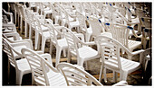 Audience, Chair, Chairs, Color, Colour, Concept, Concepts, Daytime, Empty, Exterior, Line, Lined up, Lined-up, Lines, Lining up, Lining-up, Many, Nobody, Outdoor, Outdoors, Outside, Ready, Row, Rows, Show, Shows, White, B75-550175, agefotostock