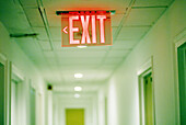 Artistic effect, Bearing, Color, Colour, Concept, Concepts, Corridor, Corridors, Detail, Details, Exit, Exits, Indoor, Indoors, Information, Interior, Orientation, Red, Selective focus, Sign, Signs, B75-604592, agefotostock
