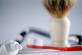 Blurred, Brush, Brushes, Close up, Close-up, Closeup, Color, Colour, Concept, Concepts, Dental hygiene, Horizontal, Hygiene, Indoor, Indoors, Interior, Masculine, Object, Objects, Razor, Razors, Shave, Shaver, Shavers, Shaving, Shaving brush, Still life,