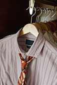 Arrangement, Closet, Closets, Color, Colour, Concept, Concepts, Detail, Details, Dressed up, Elegance, Elegant, Garment, Garments, Hang, Hanger, Hangers, Hanging, Indoor, Indoors, Interior, Masculine, Necktie, Neckties, Order, Shirt, Shirts, Style, Tie,