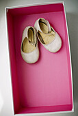 Accessories, Accessory, Aged, Box, Boxes, Childhood, Close up, Close-up, Closeup, Color, Colour, Concept, Concepts, Feminine, Footgear, Footwear, Indoor, Indoors, Infantile, Interior, Little, Object, Objects, Old, Open, Pair, Pink, Shoe, Shoes, Small, St