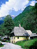 Typical village.The Upper Soca Valley. Julian Alps. Slovenia