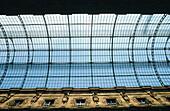 Detail of glass vault at Vittorio Emanuele II Gallery. Milan. Italy