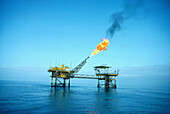 Gas burning. Oil extraction offshore. Port Gentil vicinity. Gabon