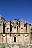 The Deir (also called the monastery ) is carved in the rock by a remote place on the mountain at II th century BC by the Nabatean people was a place of worship, later on used as a primitive church. Archeological site of Petra. Jordan