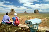 Visitors at entrance of Navajo park, Monument Valley. Utah. USA