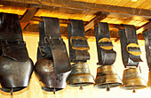 Collection of antiques cow bells. Property of Mr Grandchavin, cattle breeder, Malbuisson by Lake Saint-Point. Doubs. Franche-Comte. France Mr Grandchavin cattle breeder
