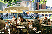 Outdoor cafe at Place Beaubourg. Paris. France