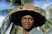 Young worker in Mr Babin s banana plantation. Guadaloupe, French Antilles. France.