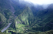 Trois Bassins village in a remote valley with no road to access. Réunion, France