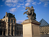 Equestrian statue of King Louis XIV in Louvre yard. Paris, France
