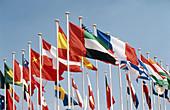 Flags, International Paris Air Show at Le Bourget airport. Paris. France