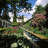 Alhambra, Andalucia, Andalusia, Architecture, Art, Arts, Building, Buildings, Castle, Castles, Color, Colour, Courtyard, Courtyards, Daytime, Europe, Exterior, Fountain, Fountains, Garden, Gardens, Generalife, Granada, Historic, Historical, History, Land
