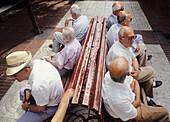 Elderly men. Maó. Minorca, Balearic Islands. Spain