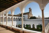 Upper Gallery of the Patio de las Madres (Mothers cloister) XV-XVIc., at the Monastery of Santa Clara, at Moguer. Huelva province. Spain.