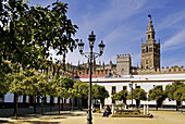 Giralda tower from Plaza de Armas at Seville. Andalucia. Spain.
