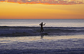 Evening with surf-riding woman at the beach of Carcans Plage, dept Gironde, France, Europe