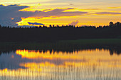 After-glow at a lake near Arjeplog, Lapland, northern Sweden