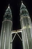 Petronas Twin Towers. Architect: Cesar Pelli. Lighting designer: Alain Guilhot. Kuala Lumpur. Malaysia.
