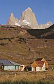 El Chalten, Fitz Roy peak (3440 m) at the rear. Los Andes mountain range. Los Glaciares National Park. Santa Cruz province. Patagonia. Argentina.