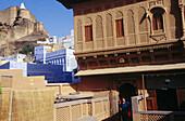 Balcony of a Haveli , a noble house. Meherangarh fortress. Jodhpur. Rajasthan. India.