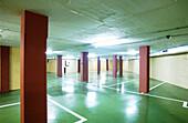 Color, Colour, Concept, Concepts, Empty, Garage, Garages, Horizontal, Illuminated, Illumination, Indoor, Indoors, Inside, Interior, Nobody, Pillar, Pillars, Underground, B29-310900, agefotostock