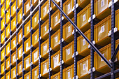 Arrangement, Background, Backgrounds, Box, Boxes, Color, Colour, Detail, Details, Indoor, Indoors, Industrial, Industry, Interior, Many, Order, Shelf, Shelves, Shelving, Sorting, Storage, Store, Storehouse, Stores, Warehouse, Warehouses, B29-500415, agef