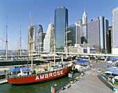 Lightship, South Street Seaport Museum. Manhattan, East River, New York City. USA