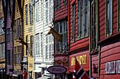 Street scene, Shops, hanseatic wharf, Bryggen, Bergen, Norway.