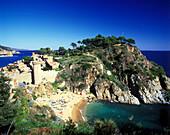 Castle, tossa de mar, Costa brava coastline, Catalunya, Spain.