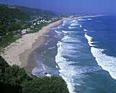 Scenic dolphin beach panorama, Wilderness, garden route coastline, South africa.