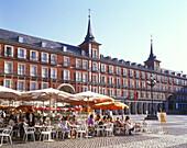 Street scene, Cafes, Plaza mayor, Madrid, Spain.