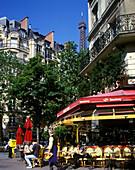 Street scene, Cafe, Brasserie champs du mars, Paris, France.
