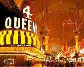 Hotels & casinos, Fremont street, Downtown, Las vegas, Nevada, USA.