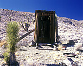 Outhouse (toilet) , Lost burro mine, Death valley National Park, California, USA.