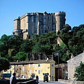 Houses and medieval castle in Suze la Rousse. Provence. France