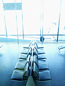 Absence, Absent, Bench, Benches, Blue, Blue tone, Color, Colour, Daytime, Indoor, Indoors, Inside, Interior, Lobbies, Lobby, Monochromatic, Monochrome, Nobody, Rest, Resting, Seat, Seats, Toned, Vertical, View from above, Waiting room, Waiting rooms, C38