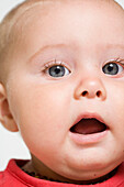 0 to 6 months, 0-6 months, 1 to 6 months, 1-6 months, Angry, Babies, Baby, Bewildered, Bewilderment, Big eyes, Blone, Blue eyed express, Blue eyes, Caucasian, Caucasians, Cheek, Child, Childhood, Children, Close up, Close-up, Closeup, Color, Colour, Conc