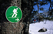 Sign for backcountry ski routes posted by German alpine club for routes with low impact on nature, Bavarian Alps, Upper Bavaria, Bavaria, Germany