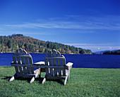 Fall, Adirondack chairs, Long Lake, Adirondack Park, New York, USA